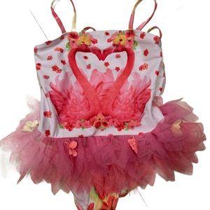 Kate Mack Flamingo TuTu Floral Swimsuit Sz 5